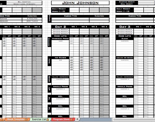 Workout Template Excel