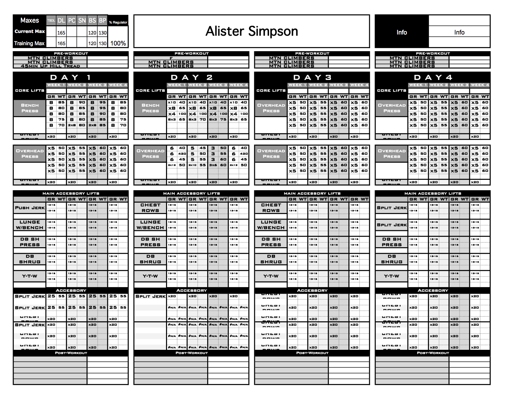 strength and conditioning templates - gold strength conditioning templates excel training