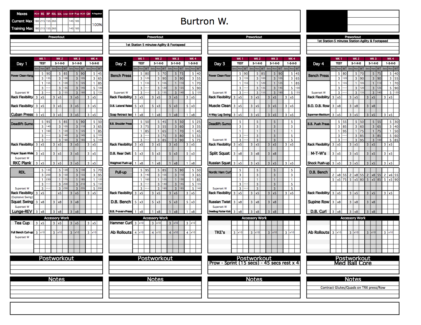 strength and conditioning templates - create a template course level 2 excel training designs