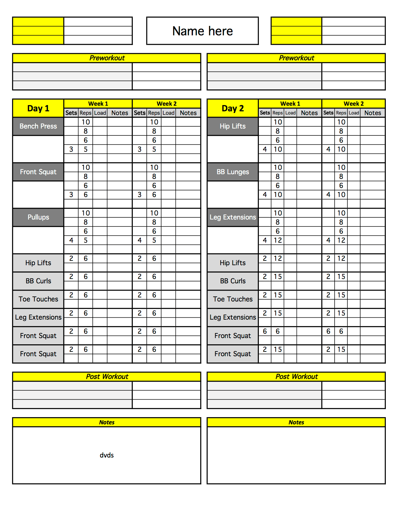 personal training excel templates