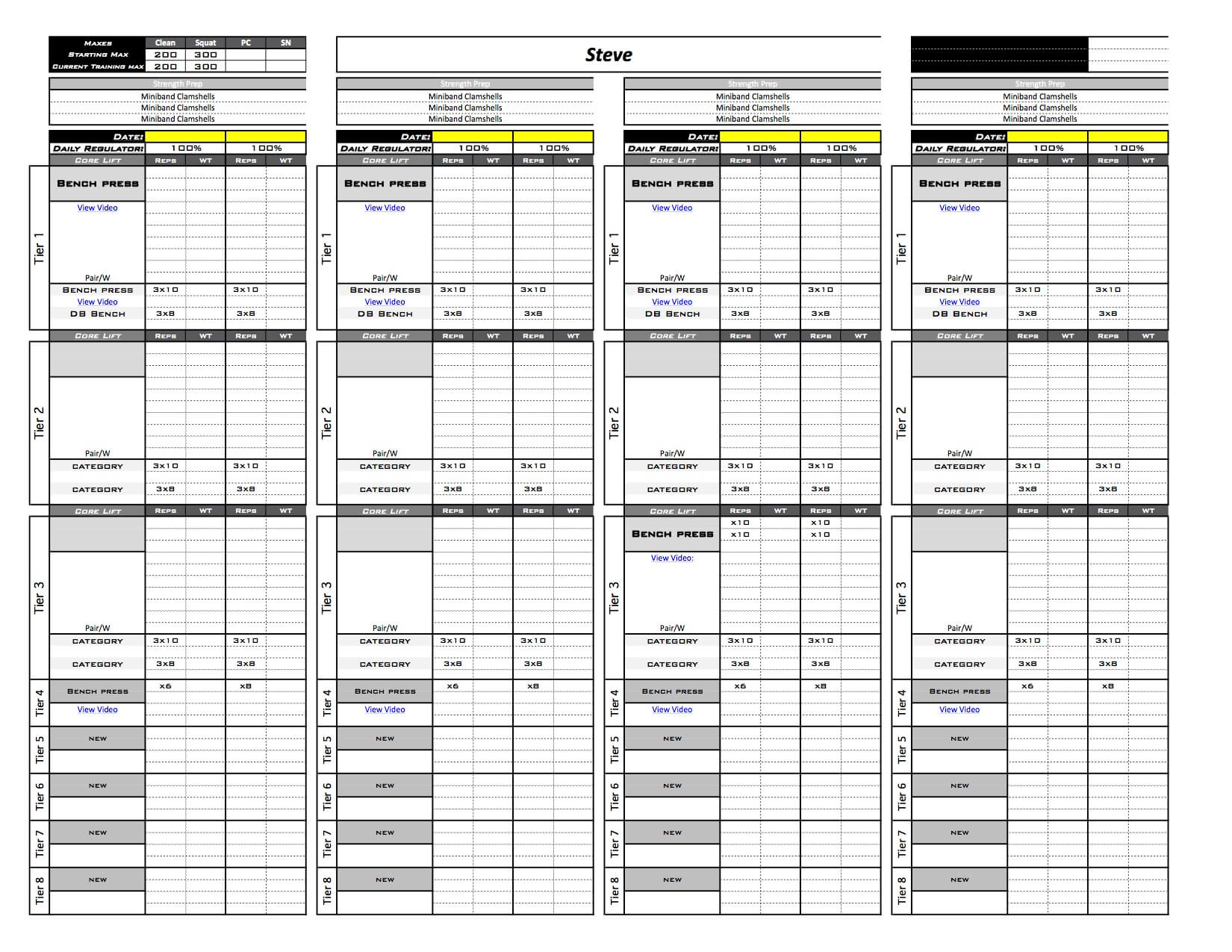 Online training template excel training designs 4 day template with the 2 week option selected alramifo Image collections